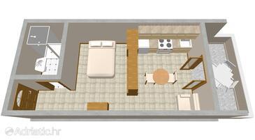 Orebić, Plan in the studio-apartment, WiFi.