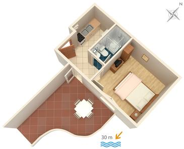 Podaca, Plan kwatery w zakwaterowaniu typu apartment, dopusteni kucni ljubimci i WIFI.