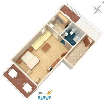 Podaca, Plan kwatery w zakwaterowaniu typu studio-apartment, dopusteni kucni ljubimci i WIFI.