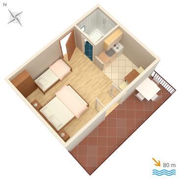 Brela, План в размещении типа studio-apartment, WiFi.
