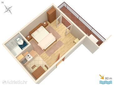 Brela, Plan in the studio-apartment, dopusteni kucni ljubimci i WIFI.
