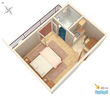 Brela, Půdorys v ubytování typu studio-apartment, domácí mazlíčci povoleni a WiFi.