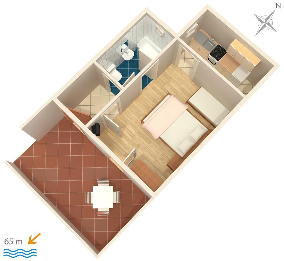 Ferienwohnung Studio Appartment im Ort Podgora (Makarska), Kapazität 2+1 (1013105), Podgora, , Dalmatien, Kroatien, Bild 10