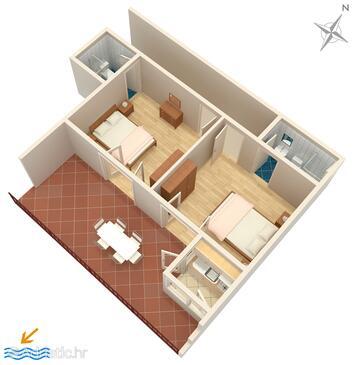 Brela, Plan in the apartment, WIFI.