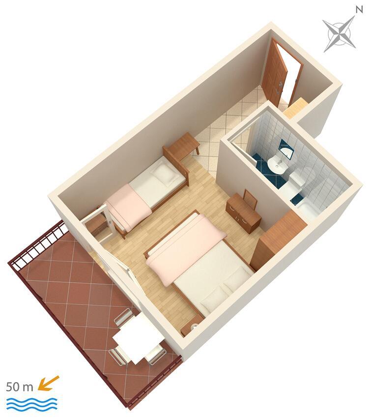 Ferienwohnung Studio Appartment im Ort Brela (Makarska), Kapazität 2+1 (2142090), Brela, , Dalmatien, Kroatien, Bild 10
