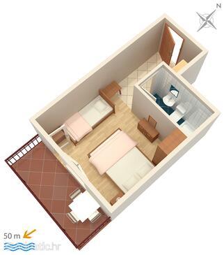 Brela, Proiect în unitate de cazare tip studio-apartment, WiFi.