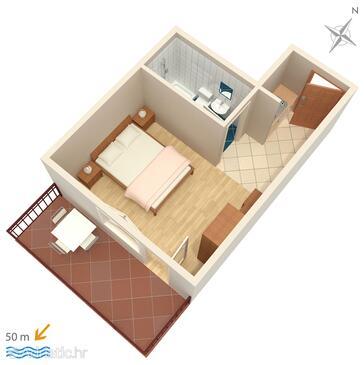 Brela, Půdorys v ubytování typu studio-apartment, WiFi.