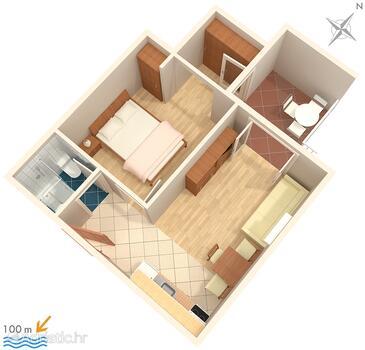Tučepi, Nacrt u smještaju tipa apartment, kućni ljubimci dozvoljeni i WiFi.