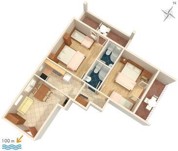 Tučepi, Plan kwatery w zakwaterowaniu typu apartment, zwierzęta domowe są dozwolone i WiFi.