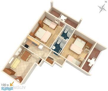 Tučepi, План в размещении типа apartment, Домашние животные допускаются и WiFi.