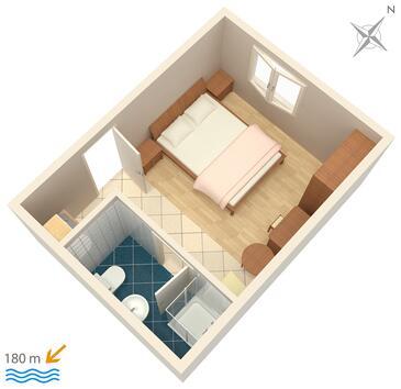 Omiš, Plan kwatery w zakwaterowaniu typu studio-apartment, WiFi.
