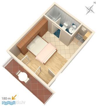 Omiš, Plan in the studio-apartment, WIFI.