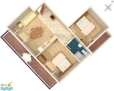 Drvenik Donja vala, Pôdorys v ubytovacej jednotke apartment, WIFI.