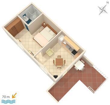 Živogošće - Porat, Plan kwatery w zakwaterowaniu typu apartment, WIFI.