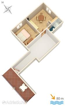 Gradac, Plan in the apartment.