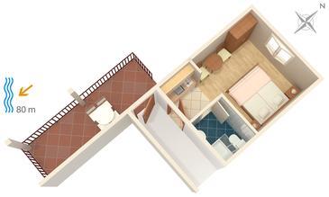 Gradac, Plan kwatery w zakwaterowaniu typu studio-apartment.
