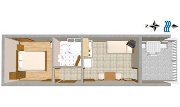 Duće, Proiect în unitate de cazare tip apartment, WiFi.