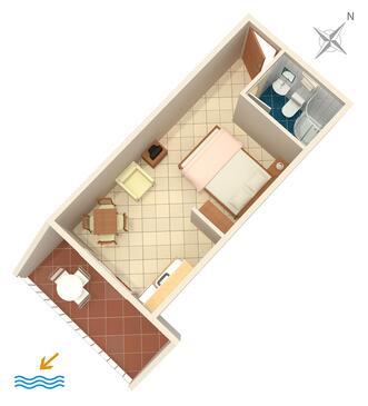 Komarna, Půdorys v ubytování typu studio-apartment, WIFI.