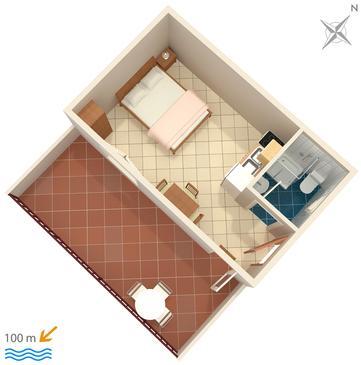 Pisak, Plan in the studio-apartment, WIFI.