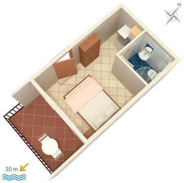 Duće, Plan kwatery w zakwaterowaniu typu studio-apartment, WiFi.