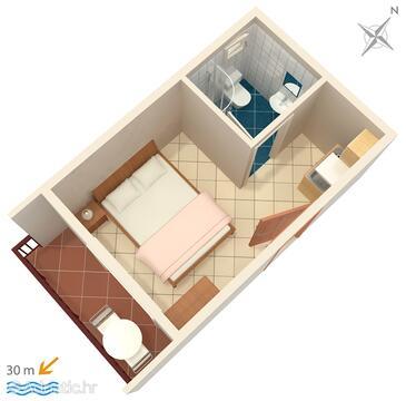 Duće, План в размещении типа studio-apartment, WiFi.