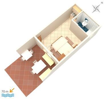 Pisak, Plan dans l'hébergement en type studio-apartment, WiFi.