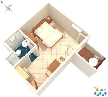 Pisak, Schema nell'alloggi del tipo studio-apartment, WiFi.