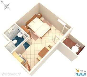 Pisak, Půdorys v ubytování typu studio-apartment, WiFi.