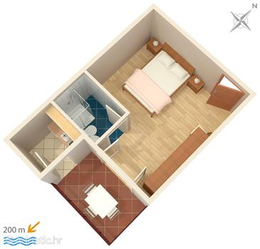 Omiš, Plan in the studio-apartment, WIFI.