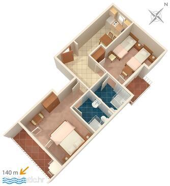 Brela, Alaprajz szállásegység típusa apartment, WiFi .
