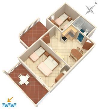 Mimice, Plan kwatery w zakwaterowaniu typu apartment, WIFI.