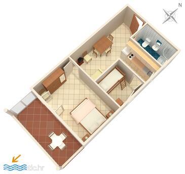 Mimice, Půdorys v ubytování typu apartment, WiFi.