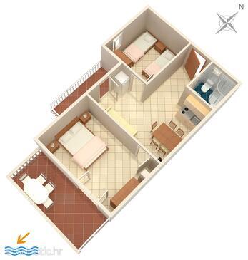 Mimice, Pôdorys v ubytovacej jednotke apartment, WiFi.
