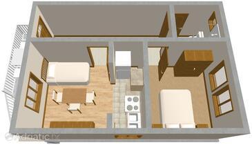 Orebić, Plan in the apartment.