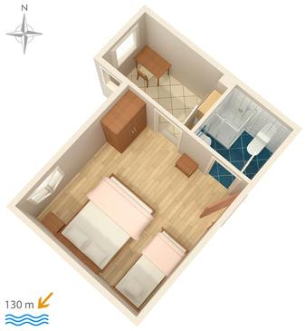 Stanići, Plan kwatery w zakwaterowaniu typu apartment, dopusteni kucni ljubimci i WIFI.