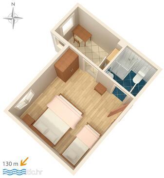 Stanići, Plan in the apartment, dopusteni kucni ljubimci i WIFI.