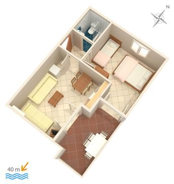 Duće, Plan in the apartment.