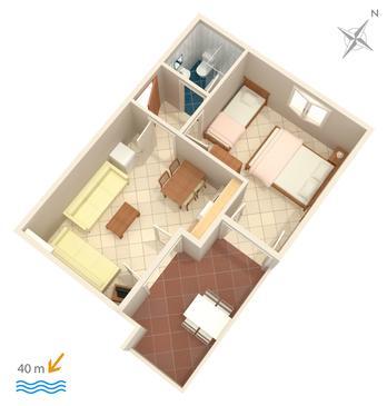 Duće, Plan kwatery w zakwaterowaniu typu apartment.