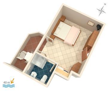 Duće, Plan in the studio-apartment.