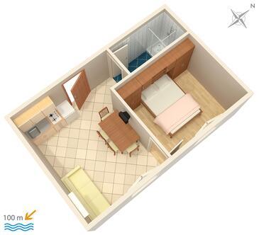 Podstrana, Pôdorys v ubytovacej jednotke apartment, dopusteni kucni ljubimci i WIFI.