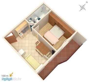 Podstrana, Půdorys v ubytování typu apartment, domácí mazlíčci povoleni a WiFi.