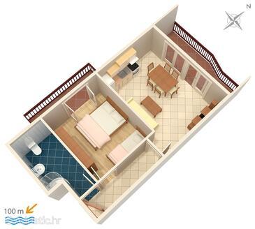 Podstrana, План в размещении типа apartment, Домашние животные допускаются и WiFi.