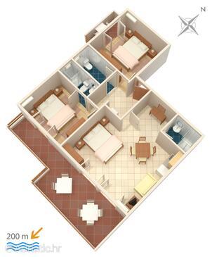 Duće, plattegrond in the apartment, WiFi.