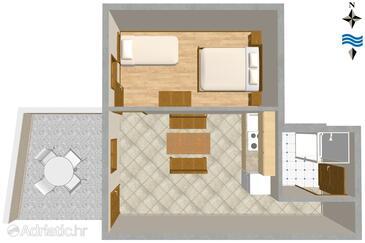 Mimice, Půdorys v ubytování typu apartment, domácí mazlíčci povoleni a WiFi.