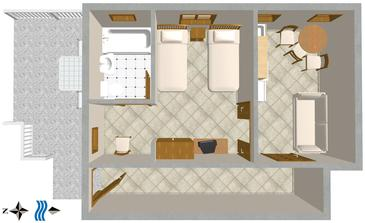 Podaca, Plan in the studio-apartment.