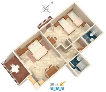 Nemira, Pôdorys v ubytovacej jednotke apartment, domáci miláčikovia povolení a WiFi.