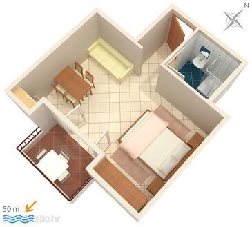Nemira, Plan in the studio-apartment, (pet friendly) and WiFi.