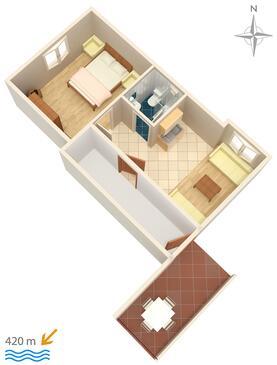 Gradac, Plan kwatery w zakwaterowaniu typu apartment, zwierzęta domowe są dozwolone i WiFi.