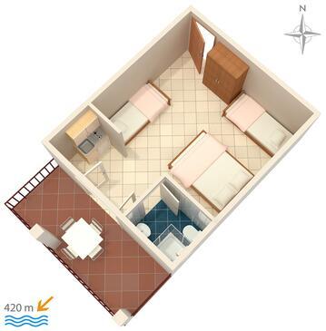 Gradac, Půdorys v ubytování typu studio-apartment, domácí mazlíčci povoleni a WiFi.