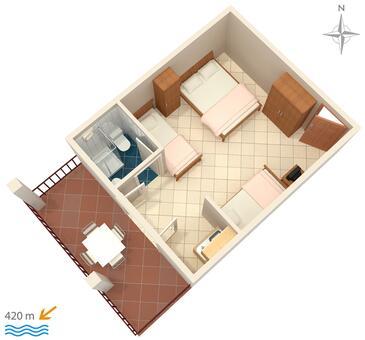 Gradac, Plan kwatery w zakwaterowaniu typu studio-apartment, zwierzęta domowe są dozwolone i WiFi.